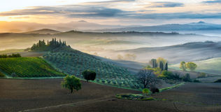 Early morning in San Quirico d´Orcia, Tuscany. Italy royalty free stock images