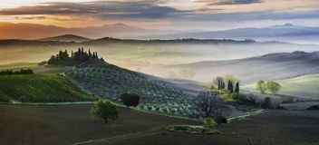 San Quirico d´Orcia. Early morning in San Quirico d´Orcia, Tuscany royalty free stock photography