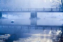 Merced River winter morning scene with mist royalty free stock photography