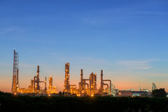 Early morning scene of oil refinery plant. Stock Images