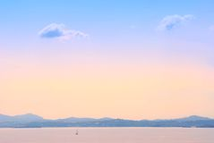 Early morning sea landscape. Background in Kerkyra, Greece Royalty Free Stock Photo