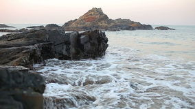 Early morning seascape. Tropical beach and sea shore during morning twilight stock video