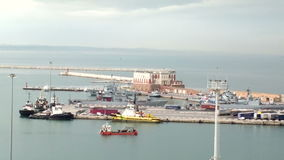 Early morning shopping barge floating in the Adriatic sea. Feeling of spaciousness. Ship on open space stock footage