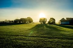 Misty morning in Hesse. Early morning shot in Hesse Germany stock photo