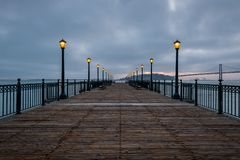 Sunrise from San Francisco`s Pier 7 royalty free stock photo