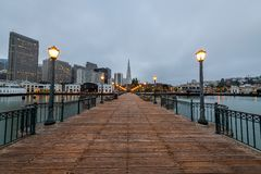 Sunrise from San Francisco`s Pier 7 stock photography