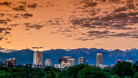 Early morning sky skyline over Salt Lake City Royalty Free Stock Image