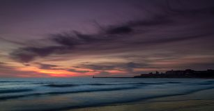 Early morning start at Tynemouth Longsands stock photography