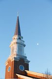 Early Morning Steeple with Moon Royalty Free Stock Photography