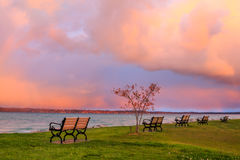 Early Morning Storm Over Traverse Bay Royalty Free Stock Photo