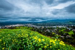 Thunderstorm over Mount Diablo and Highway 24. An early morning storm passes over the East Bay and Highway 24 stock image
