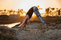 Early morning stretch at beach has blond stretching her hamstrings. Backlit female Yoga practitioner holding Down Dog pose at sunrise Stock Photography