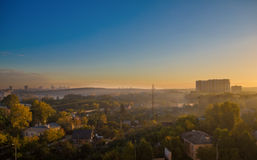Early morning at suburbs. Early morning landscape of Ekaterinburg suburbs Royalty Free Stock Image