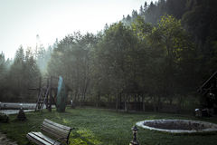 Early morning  with sunbeam and fog.  Royalty Free Stock Photos