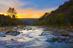 Sunrise over the Cossatot River royalty free stock photography