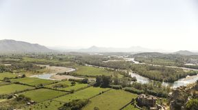 View from the riuns of castle Skoder in albania on river Buna Stock Images