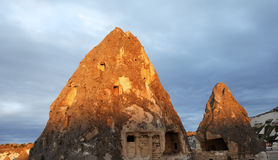 Early morning sunrays on Cappadocia caves Royalty Free Stock Photo