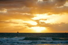Early morning sunrise in Atlantic Ocean. As seen from Miami Beach Stock Photos