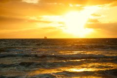 Early morning sunrise in Atlantic Ocean. As seen from Miami Beach Stock Image
