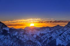 Early morning Sunrise in Austria Alps. Early morning sunrise in Winterwonderland Austria Royalty Free Stock Image