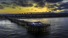 Sunrise at Balboa pier in California stock image
