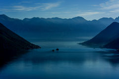 Early morning sunrise in Bay of Kotor, Montenegro Royalty Free Stock Photo