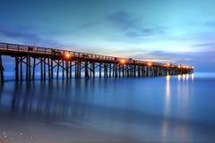 Early Morning Sunrise On Flagler Beach Pier Stock Images