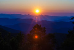 Early morning sunrise over blue ridge mountains Royalty Free Stock Images