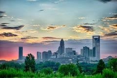 Early morning sunrise over charlotte north carolina  skyline Royalty Free Stock Photography