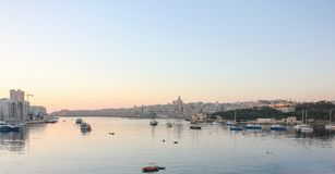 Early morning sunrise over Grand Harbour of Valletta stock photos