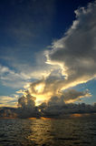 Early morning sunrise over Miami Beach. Skyline with tropical clouds at horizon Stock Image