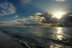 Early morning sunrise over Miami Beach. Skyline with tropical clouds at horizon Stock Photography