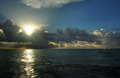 Early morning sunrise over Miami Beach. Skyline with tropical clouds at horizon Royalty Free Stock Photos