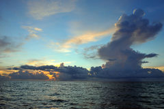 Early morning sunrise over Miami Beach. Skyline with tropical clouds at horizon Royalty Free Stock Images
