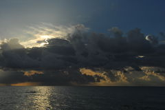 Early morning sunrise over Miami Beach. Skyline with tropical clouds at horizon Stock Photo