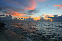 Early morning sunrise over Miami Beach. Skyline with tropical clouds at horizon Stock Photos