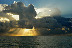 Early morning sunrise over Miami Beach. Skyline with tropical clouds at horizon Royalty Free Stock Photography
