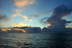 Early morning sunrise over Miami Beach. Skyline with tropical clouds at horizon Royalty Free Stock Photo