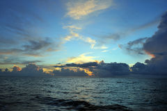 Early morning sunrise over Miami Beach. Skyline with tropical clouds at horizon Royalty Free Stock Image