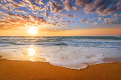 Early morning , sunrise over sea. Golden sands. royalty free stock photos