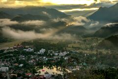Early Morning Sunrise Over The Sea of Mist.Mae Hong Son Province,Thailand