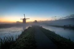 Early morning before sunrise in the polder stock images