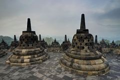 Early Morning sunrise seen from the Borobudur temple Indonesia Royalty Free Stock Photography