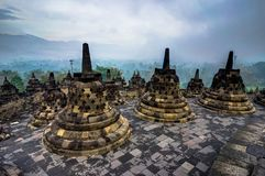 Early Morning sunrise seen from the Borobudur temple Indonesia Royalty Free Stock Image