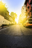 Early morning sunrise in a street, Istanbul. Stock Photo