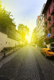 Early morning sunrise in a street, Istanbul,Turkey. Royalty Free Stock Image