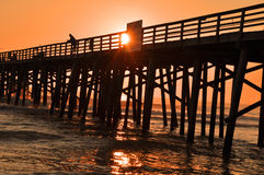 Early Morning Sunrise Sunset Pier Fishing Stock Photo