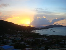 Early Morning Sunrise at Tortola. View from the Mountain side location early morning sunrise with beach view Tortola British Virgin Islands Stock Images