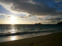 Early Morning Sunrise on Waimanalo Beach Royalty Free Stock Images