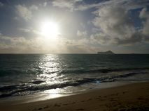 Early Morning Sunrise on Waimanalo Beach Stock Photography